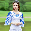 Cute T Shirt Women 2016 Fashion Gradient Color Square Neck Butterfly Sleeve Casual Slim Top Ruffles New For Summer