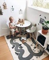 INS Çocuk Oyunu Oyna Mat İskandinav Tarzı Tuval Orman Karayolu Bebek Odası Emekleme Halı Oyunu Battaniye Çocuklar Ev Dekorasyon
