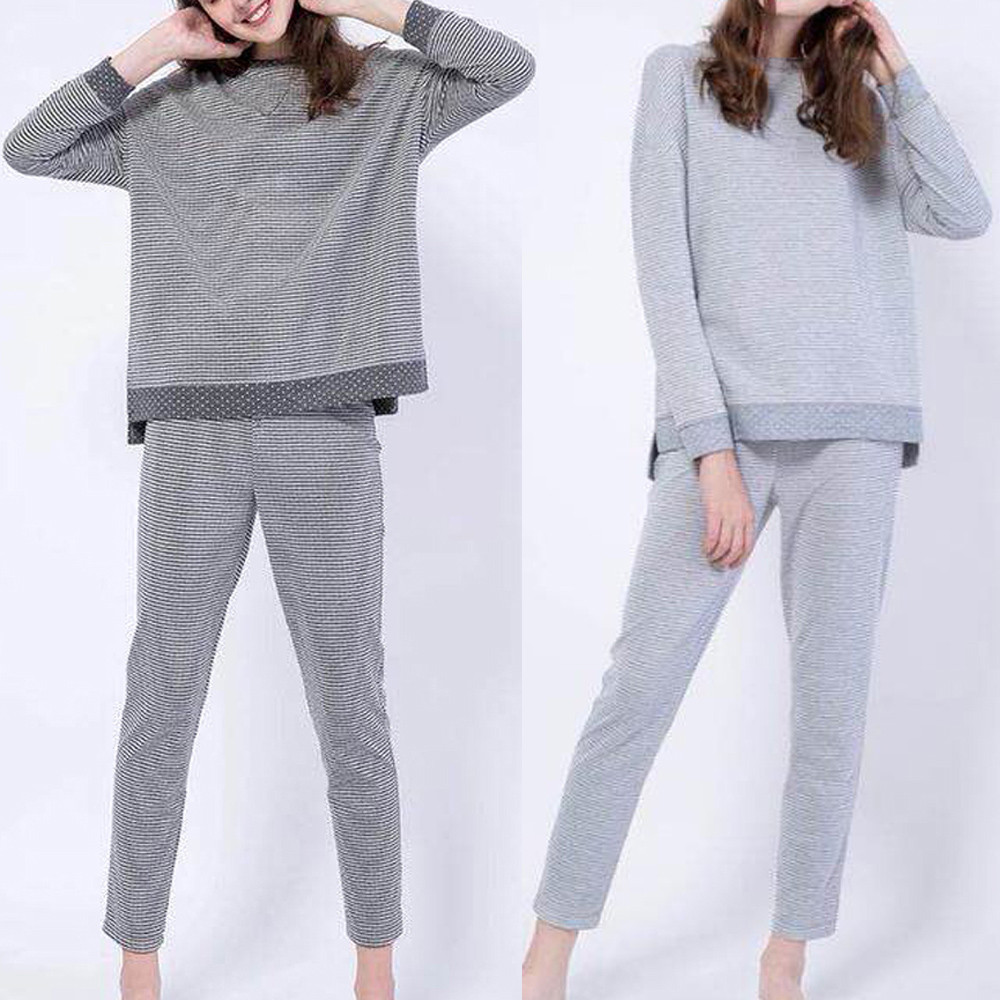 Women Simple Fashion Long Sleeves Stripe Patchwork Casual Sports Jumpsuit 2pcs Strong Packing Women's Clothing Jumpsuits & Rompers