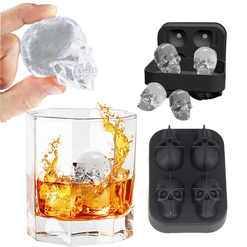 Ice Cube Maker Tray 3D Skull Silicone Mold Diamond Shape 4Cavity DIY Ice Maker Household Use Cocktails Silicone for Whiskey Tool