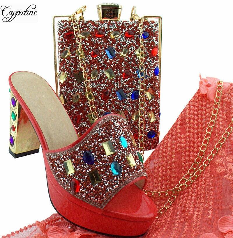 Популярные кораллового цвета высокий каблук сандалии обувь и сумки набор с цветными камнями для свадьбы/вечерние MD002