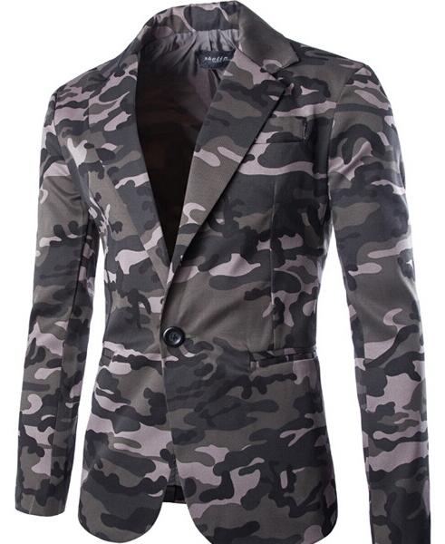 Brand Clothing Men One Button Camouflage Blazer Light and thin Slim Fit Costume Homme Suit Jacket