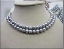 925 silver real genuine natural 2 ROW NEW 8-9MM GRAY TAHITIAN PEARL NECKLACE 18inch  jewelry design wholesale 2 row 9 10mm aa tahitian black pearl necklace 17 18 925silver yellow clasp