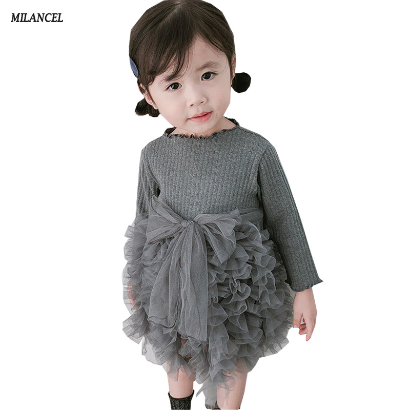 MILANCEl 2018 Girls Dress Ball Gown Girls Party Dresses Long Sleeve Kids Clothing Tutu Dress for Girls Clothes star dress for girl european style bow tutu dress long sleeve mesh girls dresses leisure holiday kids clothes pink black