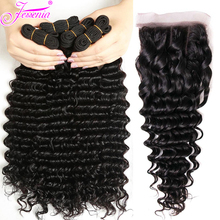 Malaysian Deep Wave 3 Bundles With Closure Natural Color 100% Human Hair 8-26 Inches Remy Hair Weaves with 4*4 Lace Closure