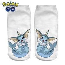 Women Socks 3D Print Animals Character vaporeon wiz White Wholesale Short Cute Low Cut Ankle Lady Girl Funny Socks Pokemon Go