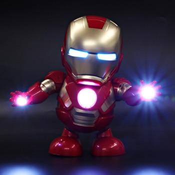 1pc Dancing Robot Iron Man LED Flashlight with Music Avengers Iron Man Hero Model Kids Holiday Gift 1