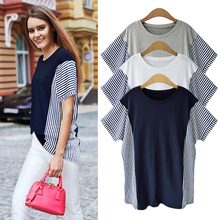 t-shirt summer new women Korean clothes tee shirt casual HarajukuT-shirt striped plus size topT-shirt