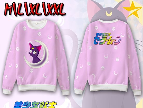 Giancomics Hot Anime Pretty Soldier Sailor Moon Hoodie Thin Spring Crewnecks Cotton Pink Casual Sweatshirt Long Sleeve Pullover