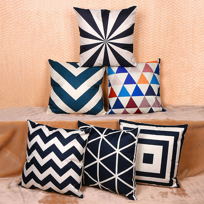 Colorful Flax Square Pillow Case Cushion Cover Pillowcase For Sofa Merry Christmas Geometry Home Textile 45x45cm F