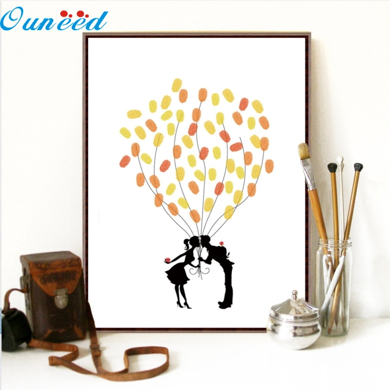 Ouneed Happy 1PC Fingerprint Signature Canvas Painting Canvas Wedding Tree Fingerprint Guest Book Wedding Gift convenience wedding tree with one inkpad fingerprint signature guest book diy wedding party canvas painting high quality