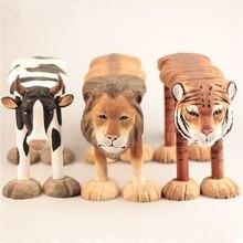 كرسي مصنوع من الخشب الصلب المنحوت يدويًا للأطفال زينة حيوانات الزرافة الأسد البقرة الهاسكي الباندا النمر على شكل مقعد للأطفال من سن 1 إلى 6 سنوات