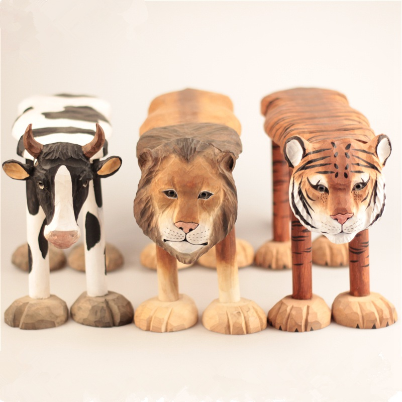 Hand-Carved Solid Wood Chair For Baby Ornaments Animal Giraffe Lion Cow Husky Zebra Panda Tiger Shaped Stool for Kids 1-6 Years