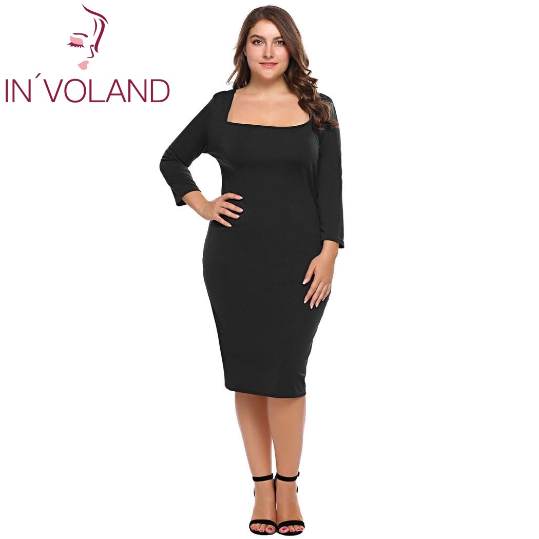 a2340590b6 IN VOLAND Plus Size Women Pencil Dress XL-5XL Spring Autumn Slim Fit Square