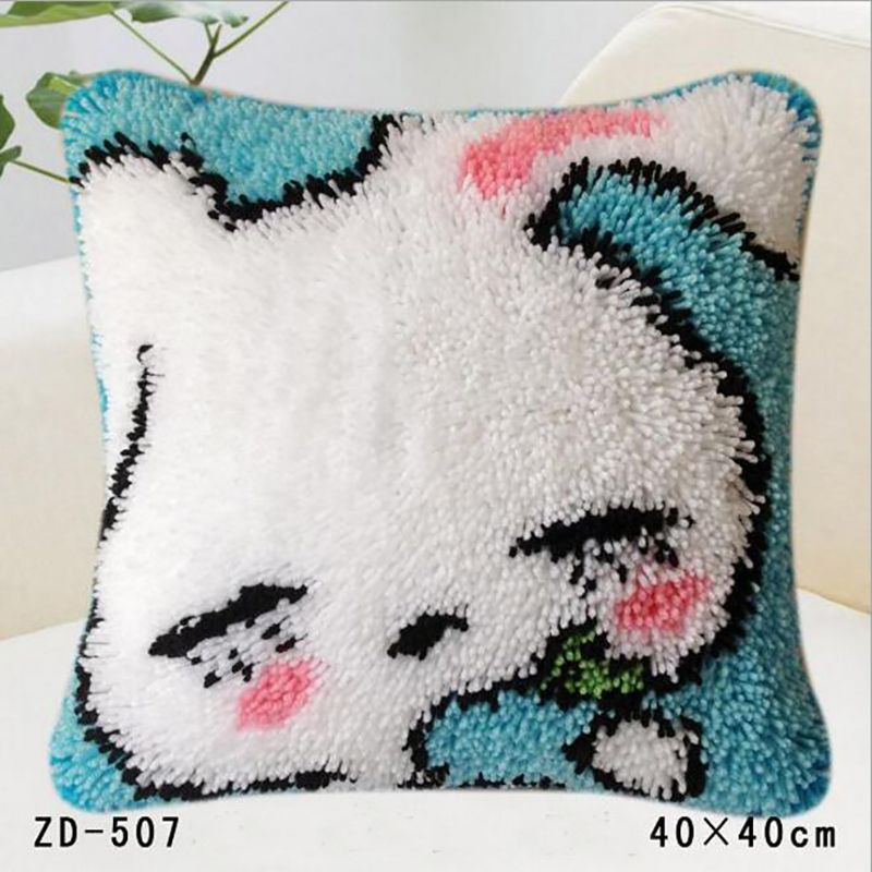Pillows Latch Hook Rug Kits Diy Embroidery Pillowcase Knooppakket Casa De Papel Serie Crochet Animal Cushion Cover