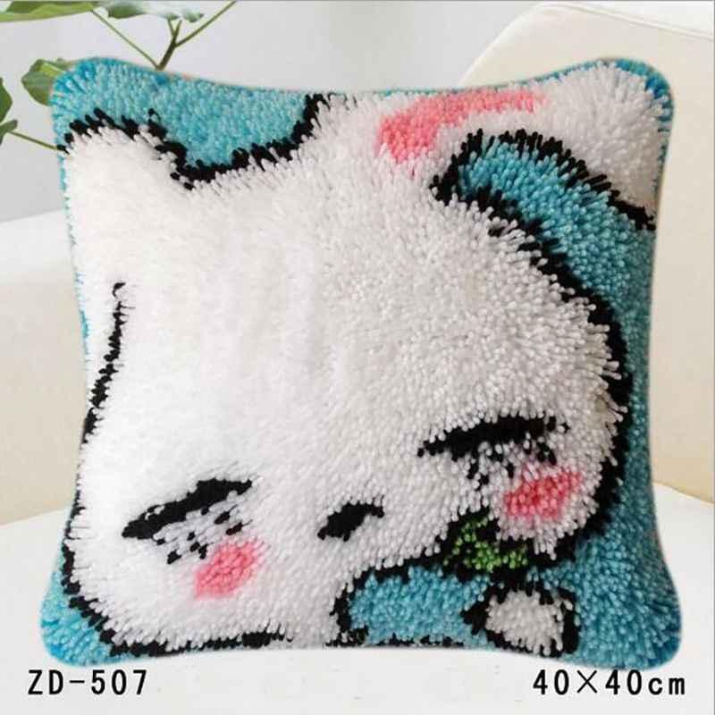 Pillows Latch Hook Rug Kits Diy Embroidery Pillowcase Knooppakket Casa De Papel Serie Crochet Animal Cushion Cover