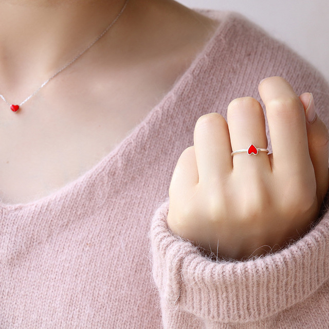 New Hot Vintage Red Heart Rings for Women Adjustable Small Heart Ring Set Party Fashion Jewelry Wedding Rings bague anillos