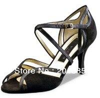 Sexy Ladies Black Velvet LATIN Shoes Ballroom Dance Shoes Salsa Tango Bachata Mambo Shoes Size 34
