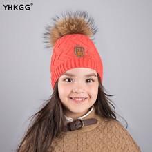 2016 YHKGG Mode Enfants D'hiver Fourrure De Raton Laveur Chapeaux 100% RealFur pompom Bonnets Cap Naturel Chapeau De Fourrure Pour Enfants