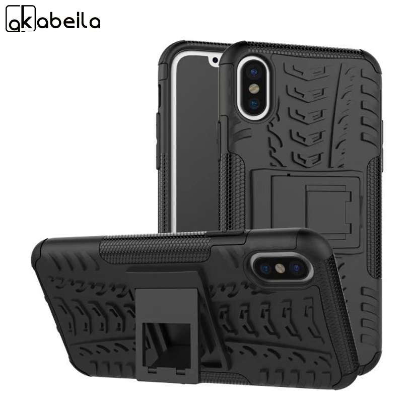 Hard PC+TPU Hybrid Kickstand Phone Back Cover For Apple iPhone X iPhone 10 iPhone Ten 5.8 inch Case Rugged Armor Covers Bags