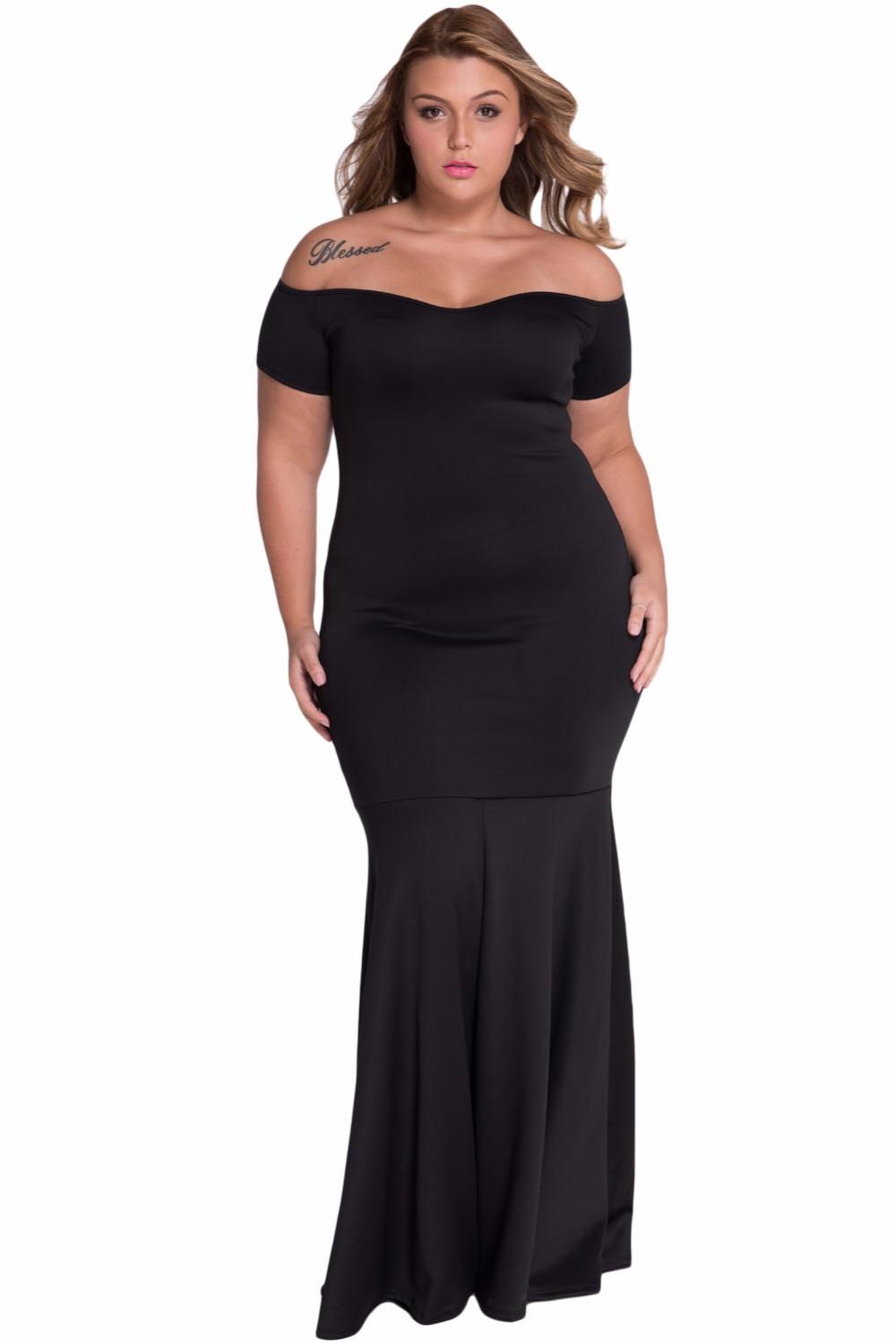 Black-Plus-Size-Off-Shoulder-Fishtail-Maxi-Dress-LC60884-2