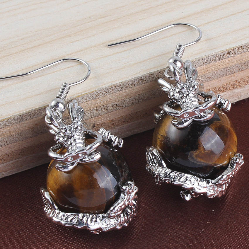 Click here to Buy Now!! Kraft-perles Vintage Argent Plaqué Naturel Oeil de  Tigre Pierre Inlay Chinois Dragon Ball Boucles D a83a6ac3d66