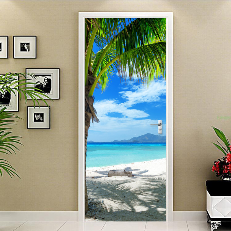 3D Cottage Boat On Sea Shores Door Stickers Self-adhesive Mural Wallpaper Decor