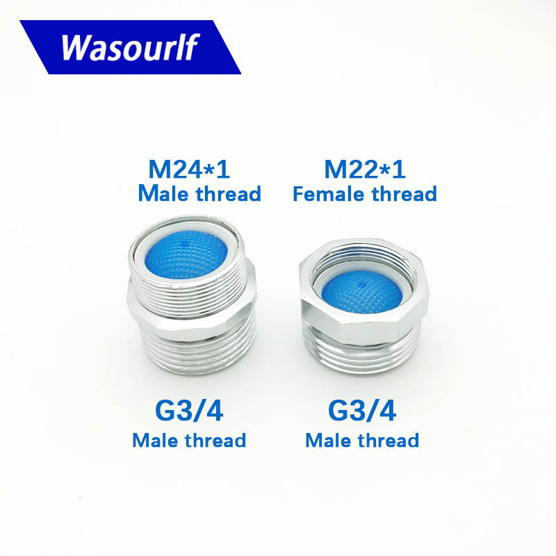 WASOURLF M22 M24 Male Thread Transfer G3/4 Female Thread Filter Connector Adapter Bathroom Faucet Parts Fittings Ccessories
