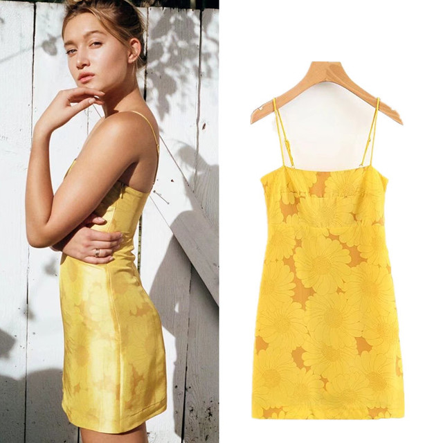c29e803e2123 sexy yellow flower print short dress women summer vintage spaghetti strap  bodycon wrap mini dress chiffon