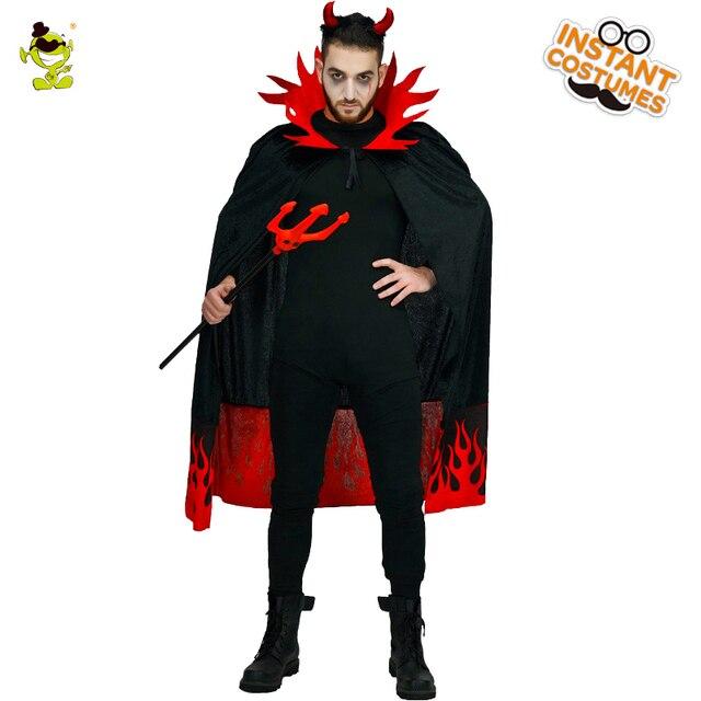 Uomo Costumi Del Diavolo Di Halloween Con Cappuccio Male Horror Demone  Costume Fuoco cornice Robe di e414afee36ac