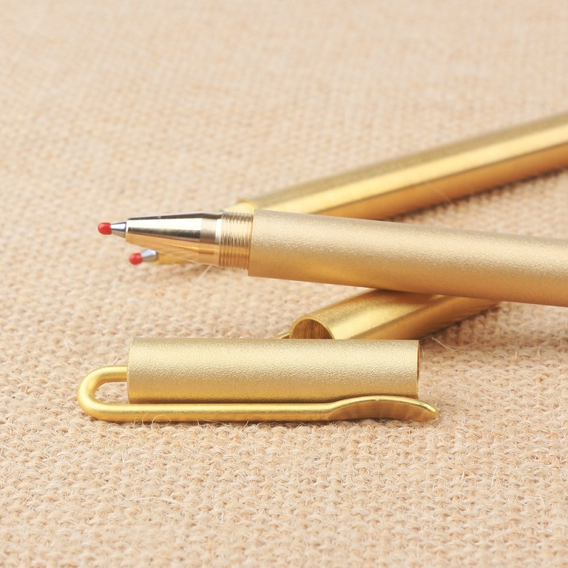 clip type brass pen signature metal pen handmade 0.5mm wholesale 5pcs/lot wholesale price hand polished brass pen hexagonal shape automatic copper pen 100pcs lot