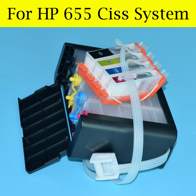 4 Color/Lot Ciss System For HP655 For HP Officejet 3525 5525 4615 4625 6525 6520 Printer With Auto Reset Chip