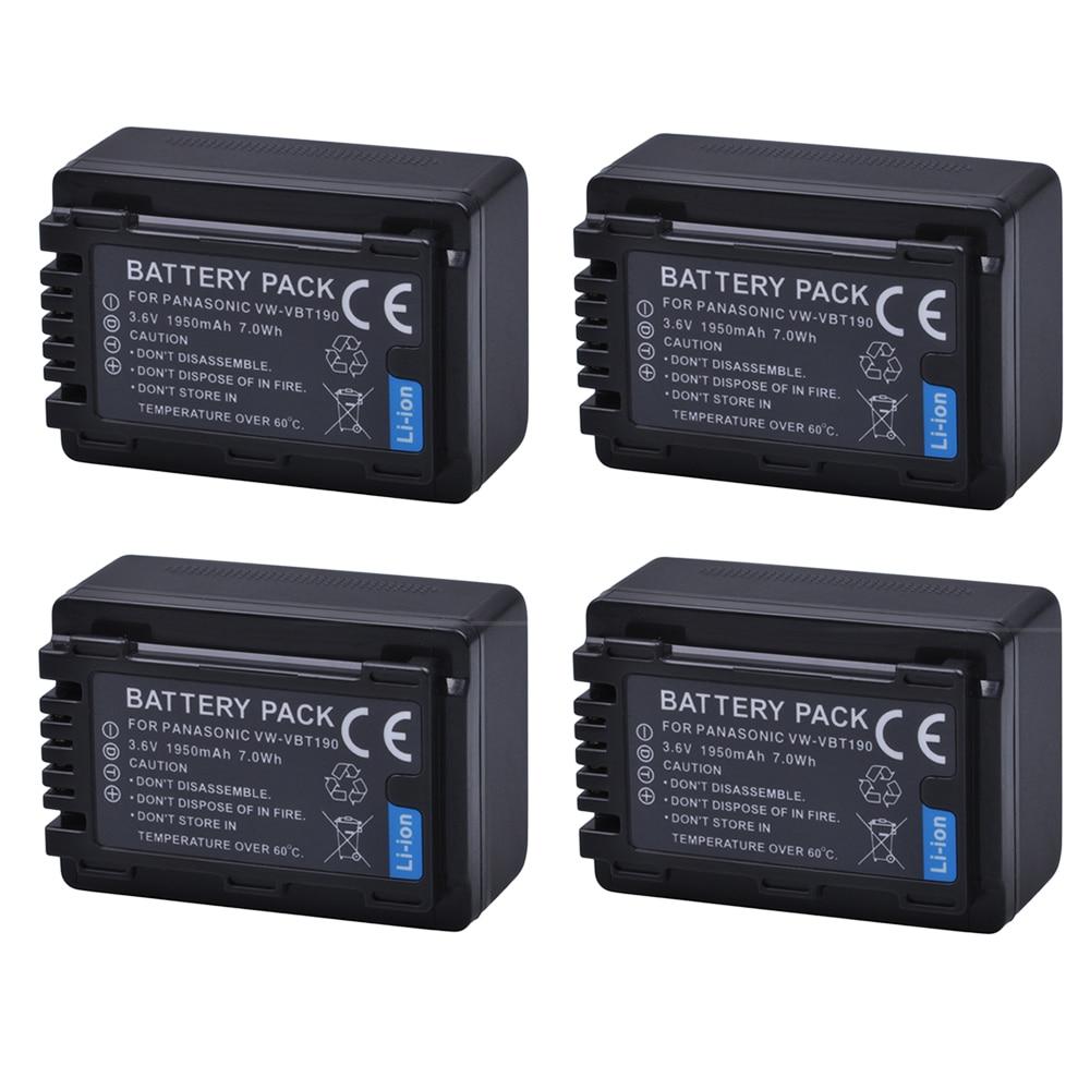 4pc 1950mAH VW-VBT190 VW VBT190 Li-ion Battery for Panasonic HC-V110 HC-V130 HC-V160 HC-V180 HC-V201 HC-V210 HC-V230 HC-V250