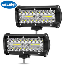 Aslent 7 inch 120W 3 rows 12000lm Combo Led Light Bars Spot Flood Beam for Work Driving Offroad Boat Car Truck 4x4 SUV ATV 12v