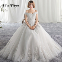 2017 Sex Boat Neck Flowers Lace Princess Wedding Dresses White Quality Bride Gowns Vestidos De Novia