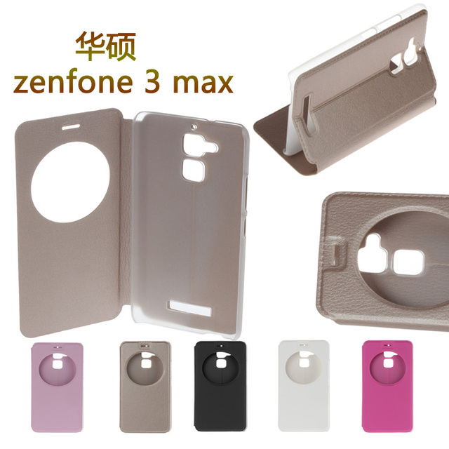 HQ flip cover circle window stand leather case for ASUS X008D Zenfone 3 Max ZC520TL X008DA