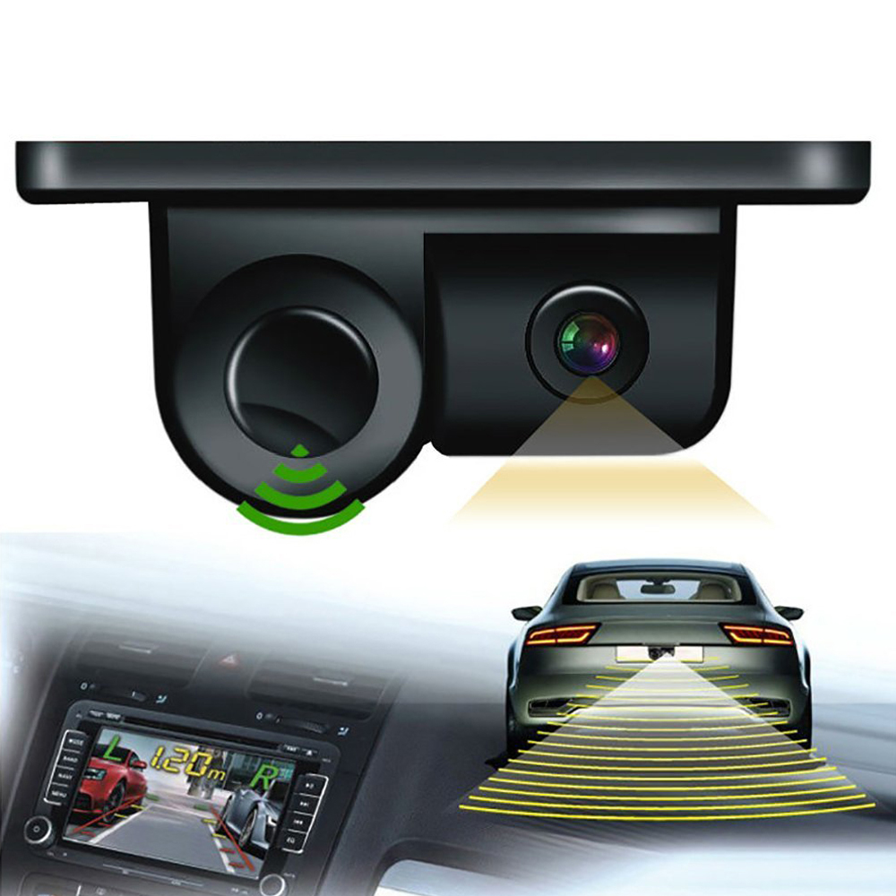 New 2 In 1 Auto Parktronic Sound Alarm Car Reverse Backup Video Parking Sensor Radar With HD Reversing Rear View Camera For Cars
