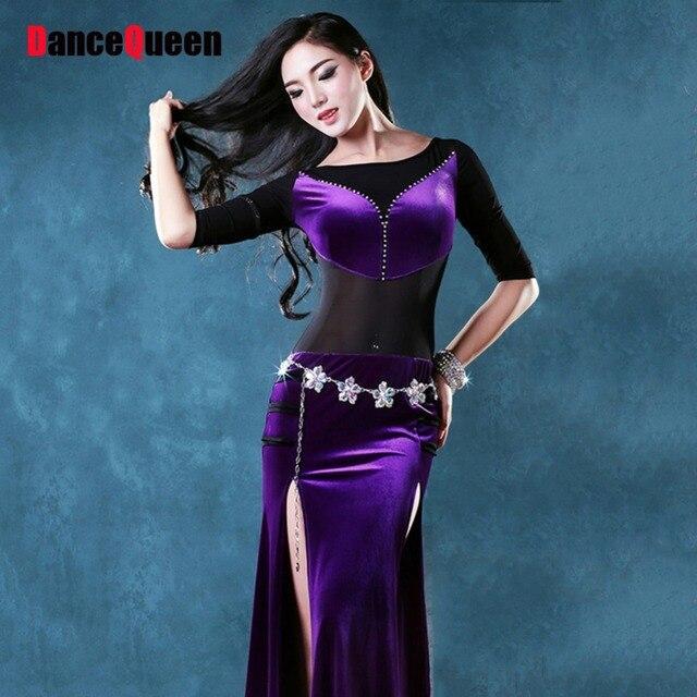 2018 New Sexy Women Bollywood Dance Costumes 2Pcs(Dress Waist Chain) Velvet  Indian Dance Stage Belly Dancer Wear Roupas Fitness d55e26bda42c