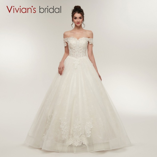 A Line Wedding Dress Vivians Bridal Off Shoulder Strapless Lace