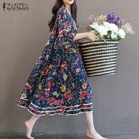 ZANZEA Women Dress 2017 Summer Vintage Floral Print Dresses Flare Sleeve O Neck Long Dress Casual