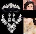 2014 Fashion DesignCrystal bowknot Bride rhinestone jewelry Set Necklace Earrings Tiara Bridal Wedding Jewelry Set Accessories