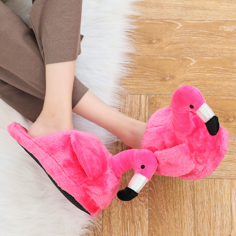 Winter Slippers Women Cute Flamingo Plush Warm Home Slippers Creative Funny 3D Indoor Slippers Casual Women Shoes Gift siketu 2017 women home slippers spliced warm pregnant women shoes best gift drop shipping dec27