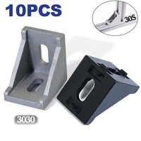 3030 ángulo de ajuste de esquina 30x30 soportes decorativos perfil de aluminio accesorios L Conector de fijación paquete de 10