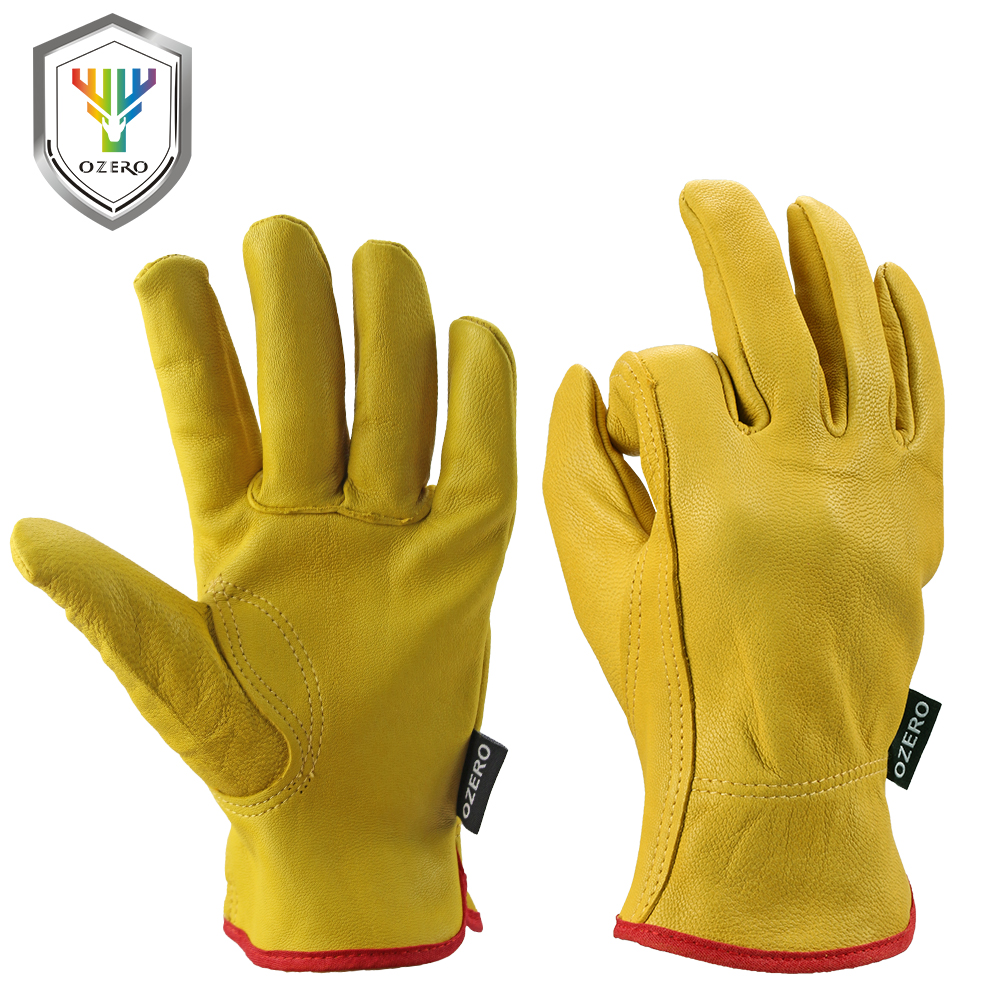 Synthetic leather driving gloves - Ozero Work Glove Garden Goat Leather Safety Security Safety Cutting Repairman Racing Rigger Heavy Industrial Tool Glove Men 0010