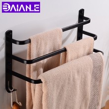 цена на Towel Bar Holder Black Aluminum Three Layer Towel Rack Wall Mounted Bathroom Towel Hanger with Hook Bathroom Shelf Corner Shower