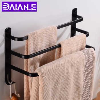 Towel Bar Holder Black Aluminum Three Layer Towel Rack Wall Mounted Bathroom Towel Hanger with Hook Bathroom Shelf Corner Shower