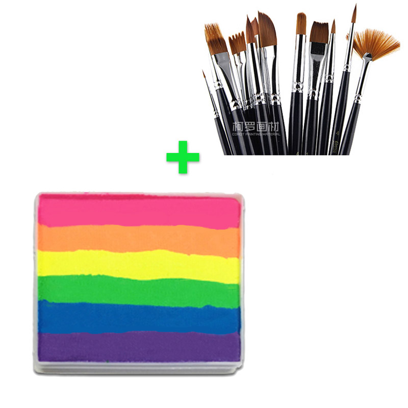 [Buy Together,Cheaper Price] 50g Neon Rainbow Face Paint + 12pcs Paint Brushes Professional Art Face Painting Body Paint Makeup pro rainbow body face paint makeup painting pigment 30g set multicolor series body art for halloween neon uv metallic face paint