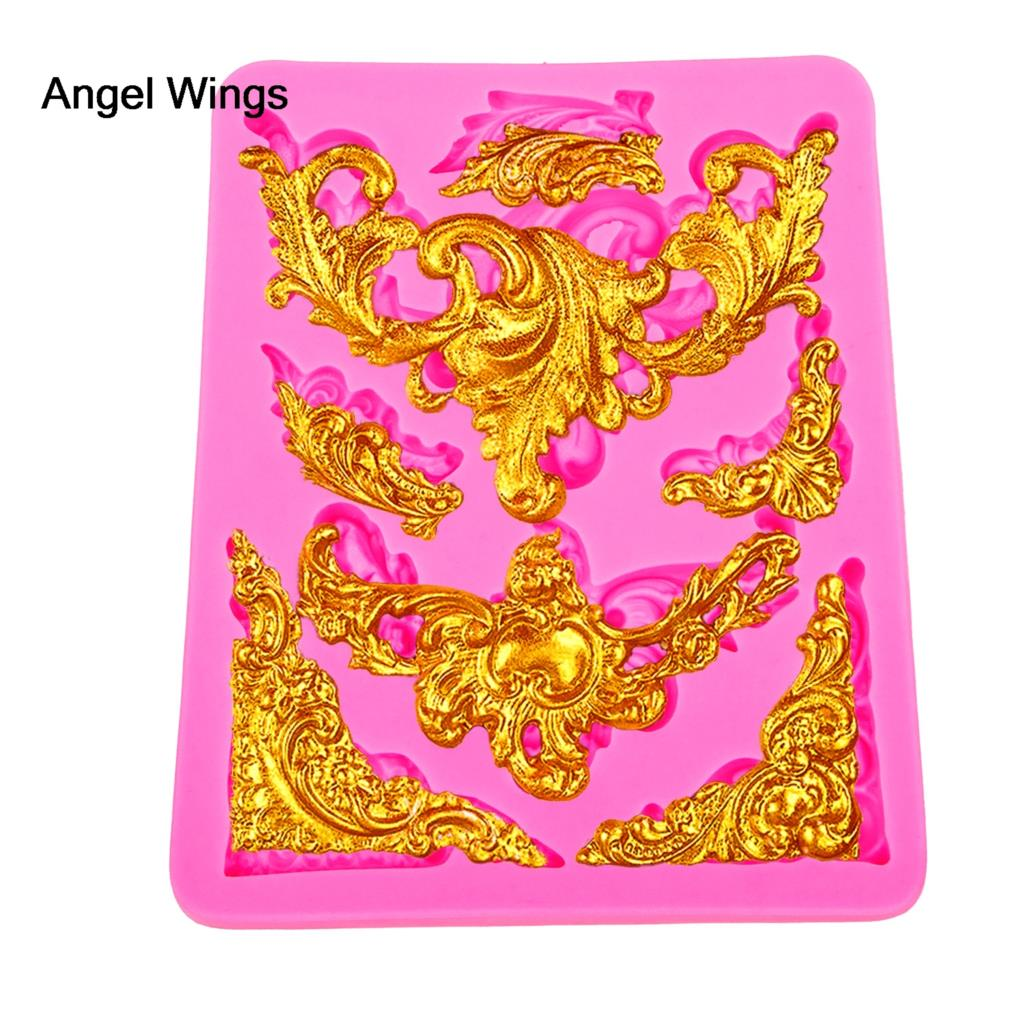 Angel Wings Food grade 3D fondant cake silicone mold lace shaped for polymer clay chocolate candy making decoration tools F1241