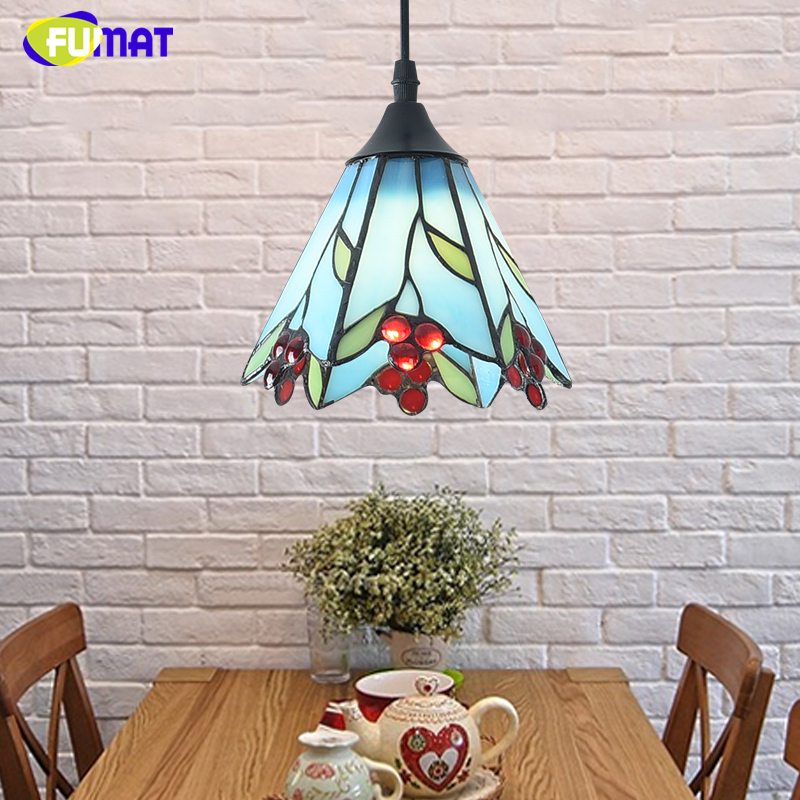 FUMAT Stained Glass Pendant Lights Small Hanging Glass Lamp For Bedroom Living room Kitchen Creative Art LED Pendant Lights fumat stained glass roses lightings modern art pendant light for living room restaurant lamp european style pendant lamp lights