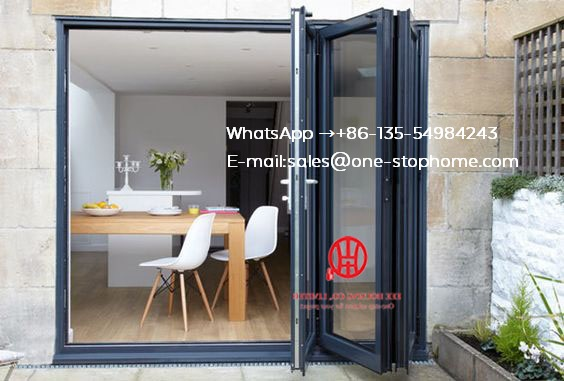Black Color Low-E Glass Thermal Break Aluminum Folding Door For Villa House,outdoor Dividers Soundproof Bi Fold Door